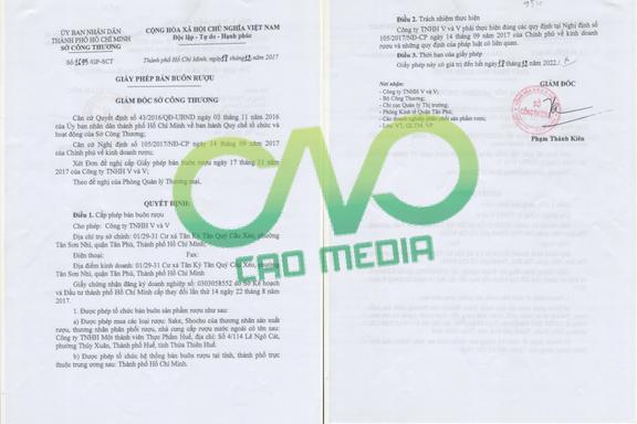Mẫu giấy phép kinh doanh bán buôn rượu tại C.A.O Media