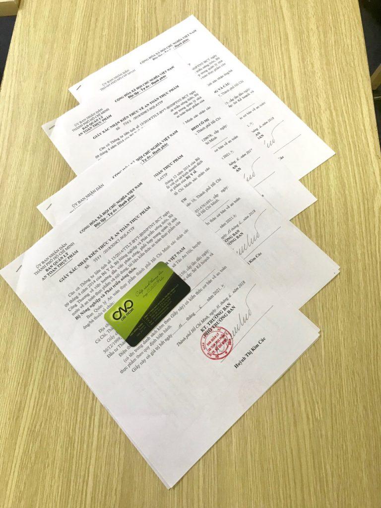 Mẫu giấy xác nhận đăng ký tập huấn kiến thức an toàn thực phẩm được C.A.O thực hiện