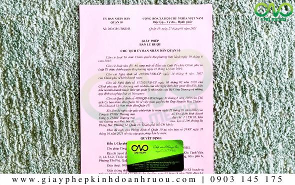 Xin giấy phép bán lẻ rượu tại Quận 11 - TP Hồ Chí Minh