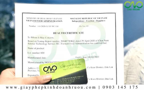 Dịch vụ làm Health Certificate sản phẩm bánh trángUY TÍN