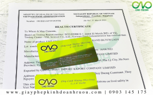 Xin giấy chứng nhận Health Certificate rượu nếp cẩm TRỌN GÓI