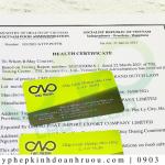 Giấy chứng nhận Health Certificate bánh mì bơ tỏi